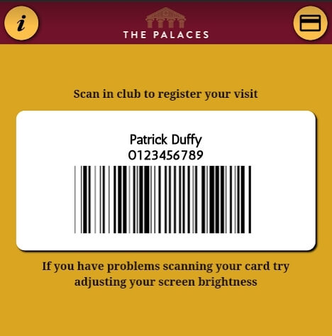 Scan the app when you arrive in club